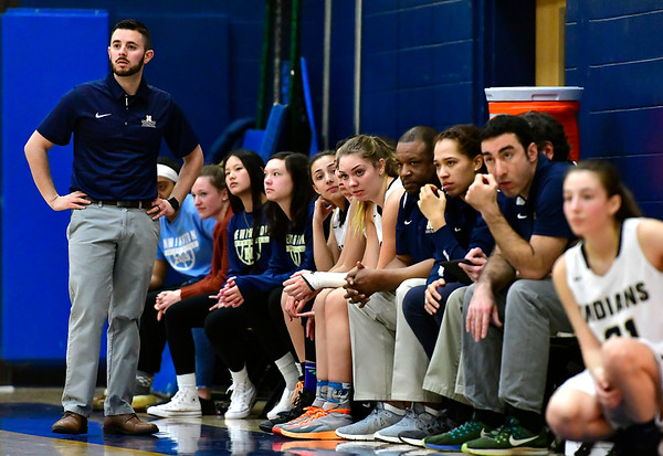3/1/2019 Mike Orazzi | Staff Newington High School''s Marc Tancredi during the Class LL Second Round of the CIAC 2019 State Girls Basketball Tournament at Newington High School Friday night.