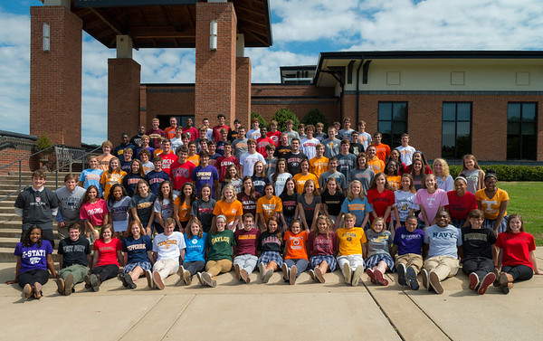 Seniors wearing college t-shirts 5-2-13