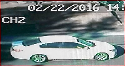 A photo of the robber's getaway car.