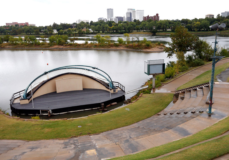 The floating amphitheater at Festival Park will be removed as part of a renovation of the17 acre park.