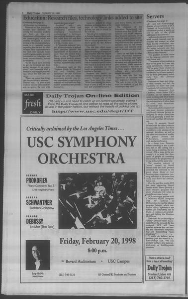 Daily Trojan, Vol. 133, No. 28, February 20, 1998