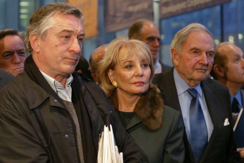. Robert De Niro, left, Barbara Walters, and David Rockefeller listen as World Trade Center site master planner Daniel Libeskind, not in photo, talks to reporters after the World Trade Center Memorial Foundation held its inaugural board meeting Wednesday, Jan. 5, 2005, in New York. The three are board members. (AP Photo/Mary Altaffer)