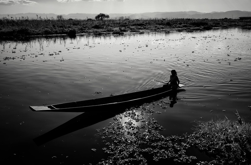 A dug out canoe on Inle Lake.  Inle Lake, Myanmar, 2017.