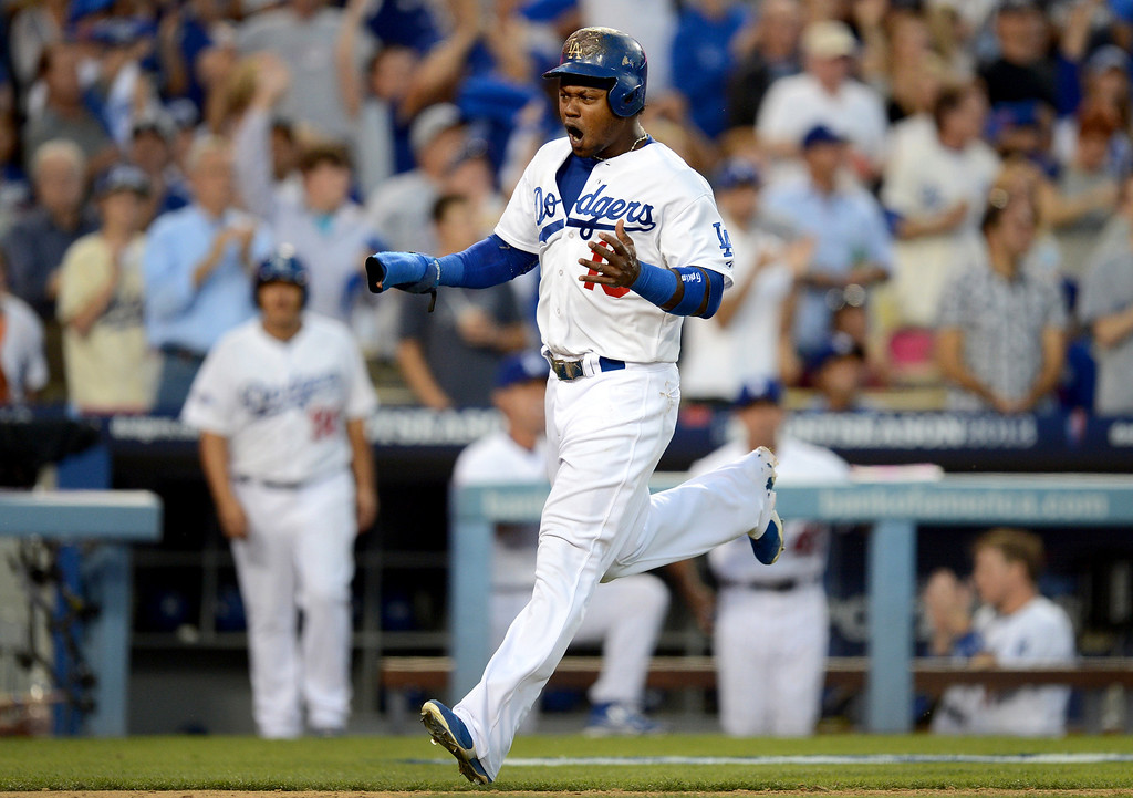 . Los Angeles Dodgers\' Hanley Ramirez brings in a run during game 3 of the NLDS at Dodger Stadium Sunday, October 6, 2013. (Photo by Hans Gutknecht/Los Angeles Daily News)