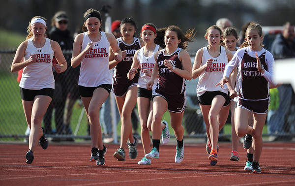4/16/2019 Mike Orazzi | Staff The start of the girls 1600 meter during Tuesday's track meet at Bristol Central High School.
