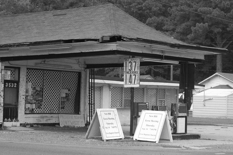 This old gas station gives an indication of when it was last in business...