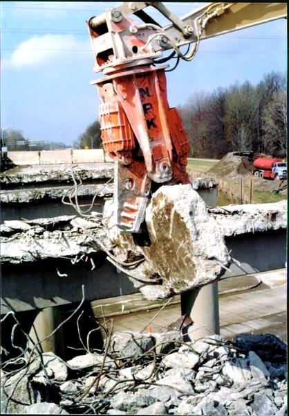 NPK M28G concrete pulverizer on Cat excavator-commercial demolition (Rt. 10) 04-08-98 (3).JPG