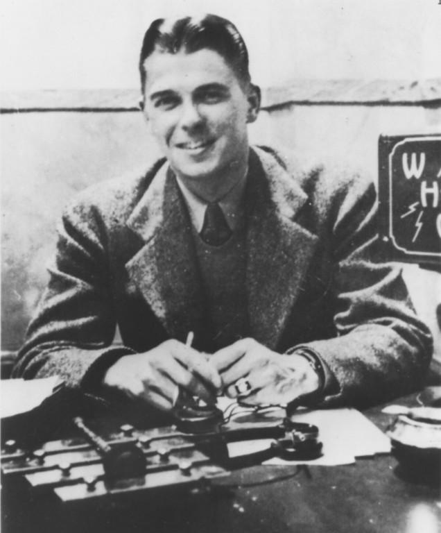 . Sports announcer Ronald Reagan at radio station WHO in Des Moines, Iowa. Photo circa mid 1930s.