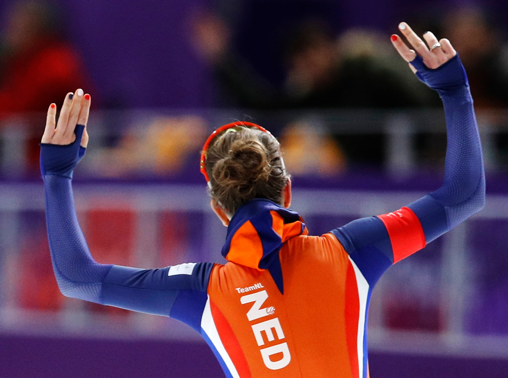 . Ireen Wust of the Netherlands celebrates after the women\'s 1,500 meters speedskating race at the Gangneung Oval at the 2018 Winter Olympics in Gangneung, South Korea, Monday, Feb. 12, 2018. (AP Photo/Vadim Ghirda)