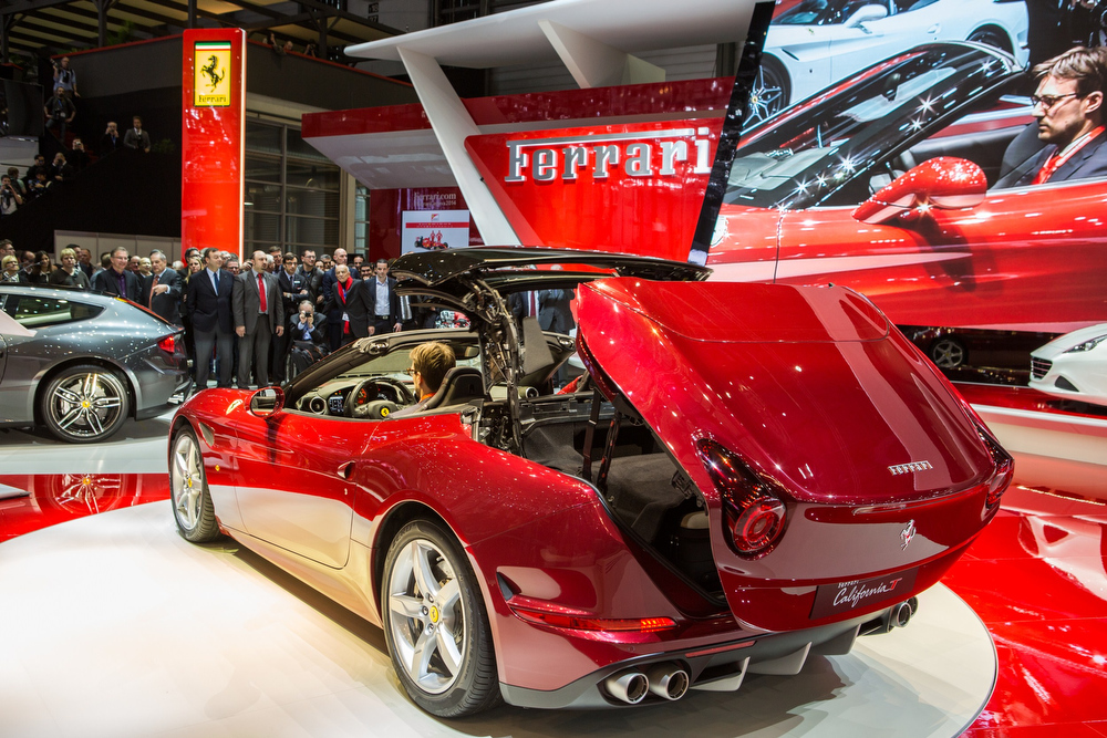 Description of . Ferrari's latest car, the California T, is presented on March 4, 2014 at the Geneva Motor Show. PIERRE ALBOUY/AFP/Getty Images