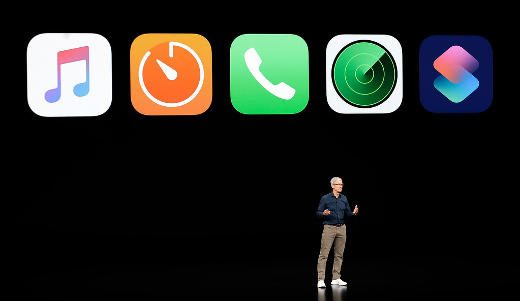 . Apple CEO Tim Cook discusses the new Apple products at the Steve Jobs Theater during an event to announce new products Wednesday, Sept. 12, 2018, in Cupertino, Calif. (AP Photo/Marcio Jose Sanchez)