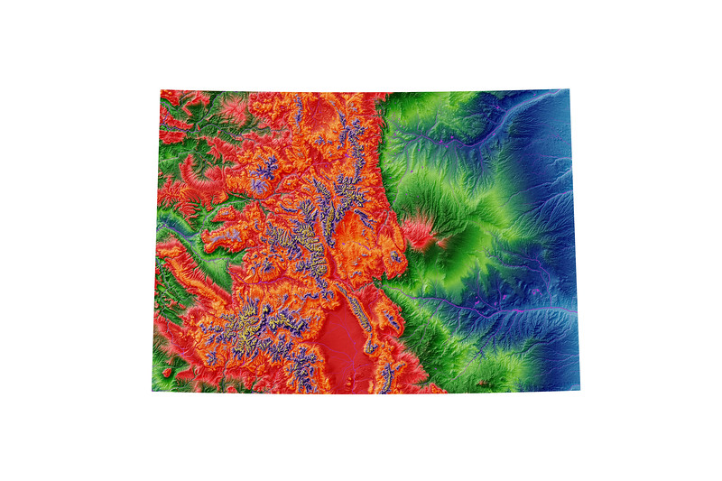 Elevation map of Colorado