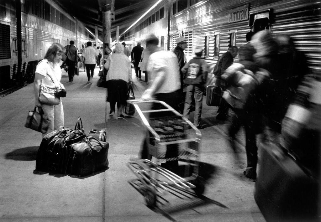 . Charlotte Johnson waits for the rest of her family before leaving Union Station.    (Los Angeles Daily News file photo)