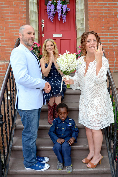 "BROOKLYN, NEW YORK - MAY 14, 2016: ""Talk Stoop"" Wedding for Goldry Rogan & Tami Farber hosted by Cat Greenleaf on May 14, 2016 in Brooklyn, New York. (Photo by Lukas Maverick Greyson)"