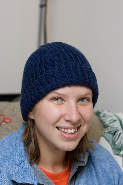 Abby wearing the Marsan Watchcap I made for Lucky.