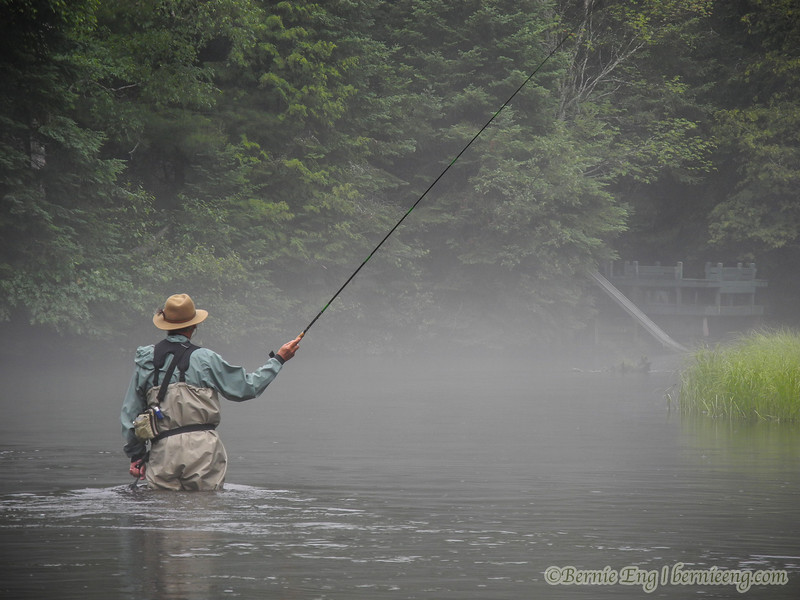 That long Tenkara rod really stands out against the mist on the AuSable River.