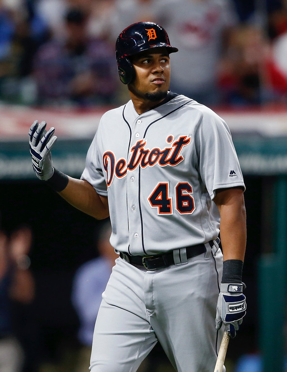 . Detroit Tigers\' Jeimer Candelario walks back to the dugout after being struck out by Cleveland Indians starting pitcher Corey Kluber during the fourth inning in a baseball game, Tuesday, Sept. 12, 2017, in Cleveland. (AP Photo/Ron Schwane)