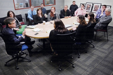 Emory Thomas, American City Business Journal (ACBJ) chief content officer, meets with the newsroom staff of the Puget Sound Business Journal (PSBJ) Washington on April 30, 2015.