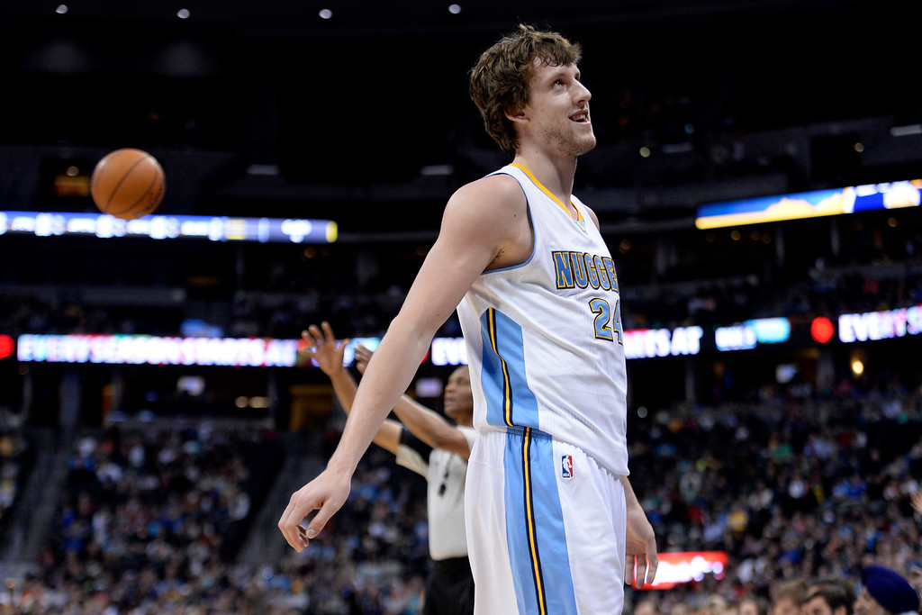 . Denver Nuggets forward Jan Vesely (24) reacts to fouling out against the Memphis Grizzlies during the fourth quarter of the Grizzlies\' 94-92 win. (Photo by AAron Ontiveroz/The Denver Post)