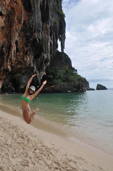 Miss Angela Sun - catching air at the beach