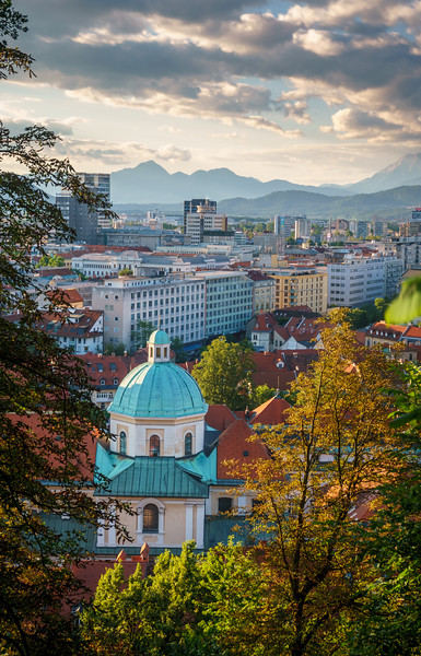 Picturesque Ljubljana beautified by the magic evening light.