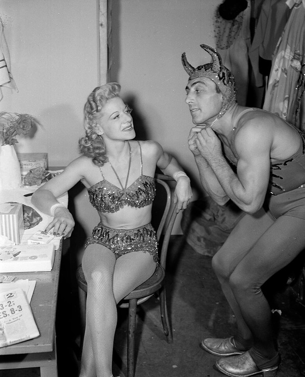 ". Juanita and Roy, the ""Flying Royals\"" a high-flying trapese act with the Ringling Bros. and Barnum and Bailey Circus at Madison Square Garden in New York, April 10, 1944. Here they prepare for their entrance. (AP Photo)"