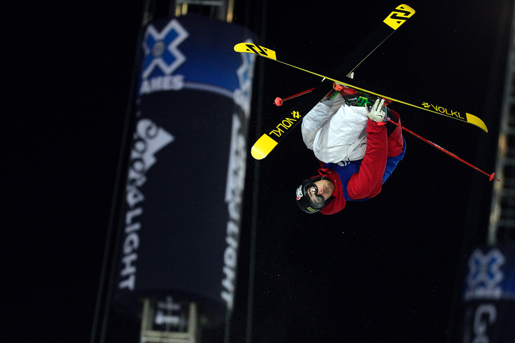 . ASPEN, CO - JANUARY 28: Kevin Rolland of France competes in his final run on the ski halfpipe at Winter X Games 2016 Aspen at Buttermilk Mountain on January 28, 2016, in Aspen, Colorado. Rolland\'s score of 93.33 earned him the gold medal. (Photo by Brent Lewis/The Denver Post)