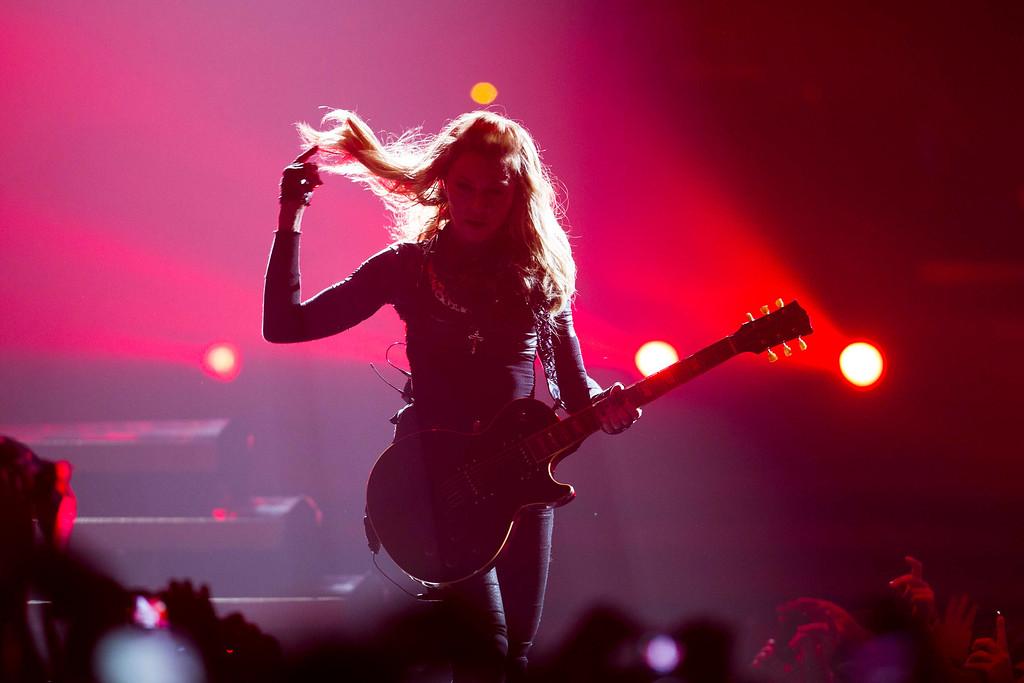 . U.S. singer Madonna performs during her \'MDNA\' tour in Berlin, Thursday, June 28, 2012.  (AP Photo/Markus Schreiber)
