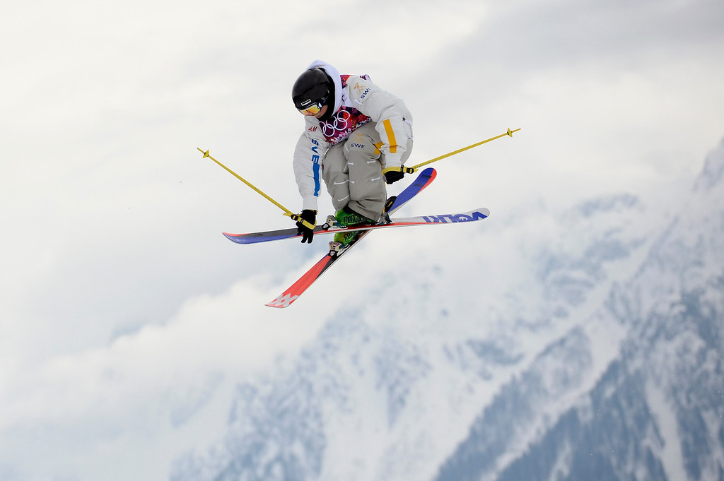 . Sweden\'s Emma Dahlstrom competes in the Women\'s Freestyle Skiing Slopestyle Flower Ceremony at the Rosa Khutor Extreme Park during the Sochi Winter Olympics on February 11, 2014.  AFP PHOTO / FRANCK FIFE/AFP/Getty Images
