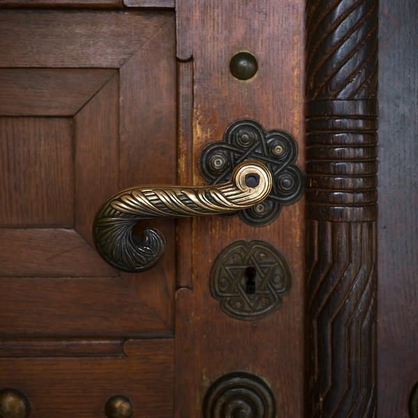 Close-Up Of metallic doorknob on door in Jewish Ceremonial Hall in Jewish Quarter, Prague, Czech Republic