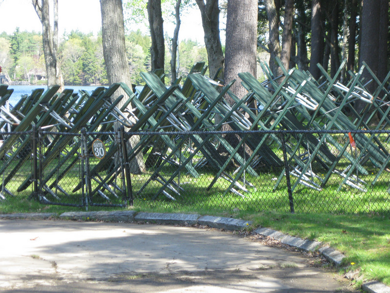 Picnic tables in the North Grove catering area.