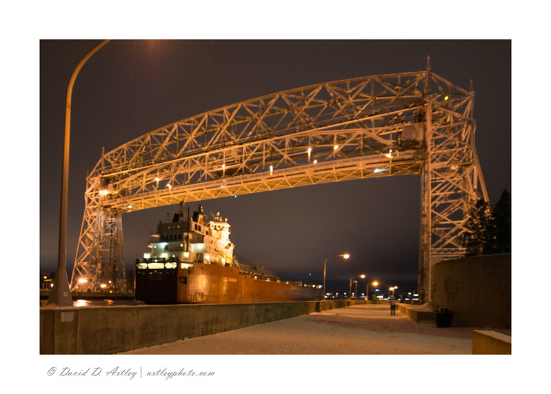 CSL Niagara (Self Discharging Bulk Carrier) passing under the Duluth Lift Bridge, Duluth, MN