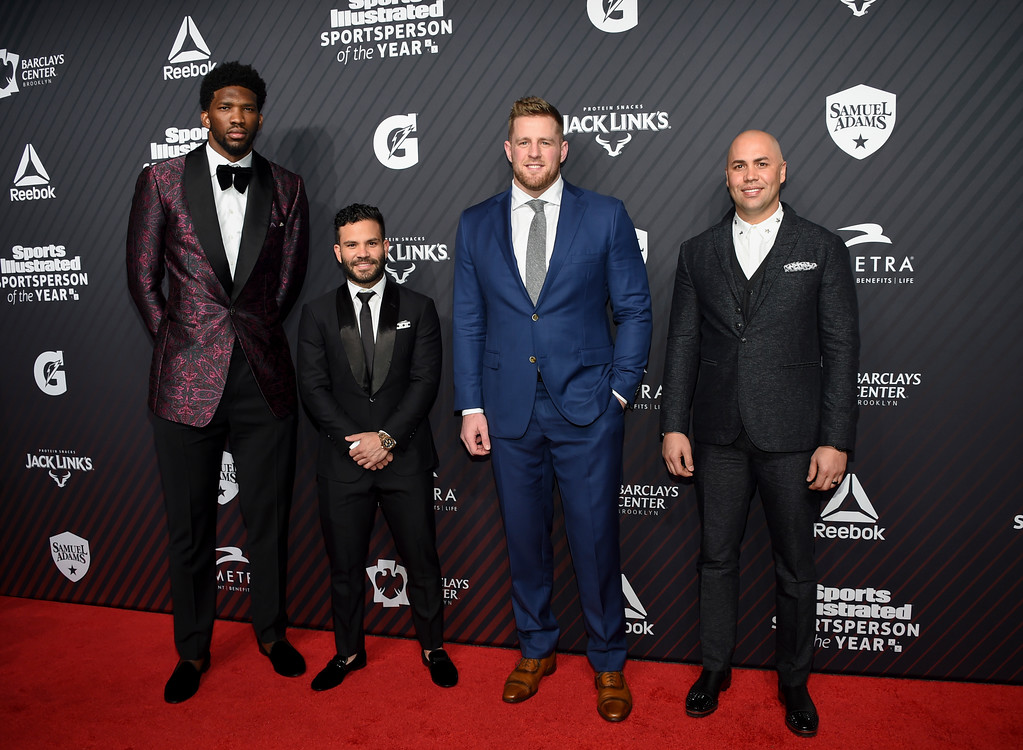 . Rising star award recipient Joel Embiid, from left, sportsperson of the year honoree Jose Altuve, sportsperson of the year honoree J.J. Watt and hope award recipient Carlos Beltran pose together at the Sports Illustrated 2017 Sportsperson of the Year Awards at the Barclays Center on Tuesday, Dec. 5, 2017, in New York. (Photo by Evan Agostini/Invision/AP)