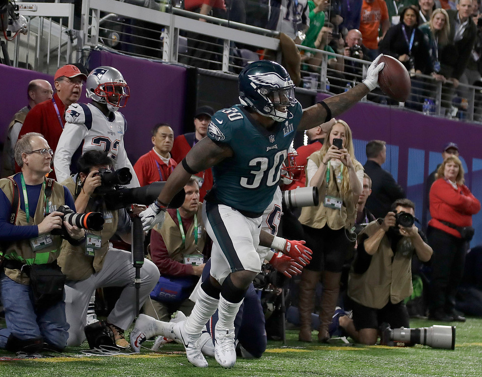 . Philadelphia Eagles\' Corey Clement celebrates his touchdown catch during the second half of the NFL Super Bowl 52 football game against the New England Patriots Sunday, Feb. 4, 2018, in Minneapolis. (AP Photo/Matt Slocum)