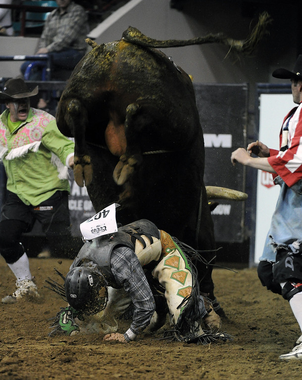 . DENVER, CO- JANUARY 27:  Cody Rostockyj, of Hillsboro, Texas,  gets thrown off a bull during the Bull Riding competition of the Pro Rodeo.  The final day of the 2013 National Western Stock show was Sunday, January 27th.  One of the big events for the day was the PRCA Pro Rodeo finals in the Coliseum.  The event featured bareback riding, steer wrestling, team roping, saddle bronc riding, tie down roping, barrel racing and bull riding.  (Photo By Helen H. Richardson/ The Denver Post)