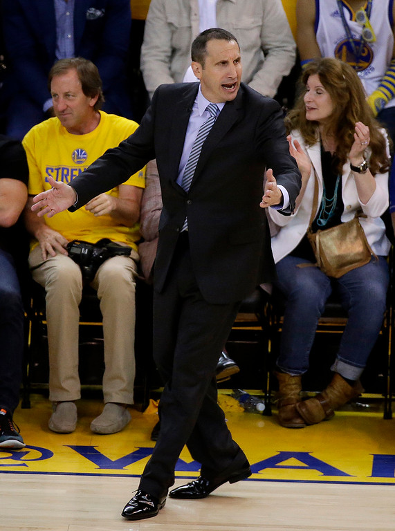 . Cleveland Cavaliers head coach David Blatt reacts during the second half of Game 1 of basketball\'s NBA Finals against the Golden State Warriors in Oakland, Calif., Thursday, June 4, 2015. The Warriors won 108-100. (AP Photo/Eric Risberg)