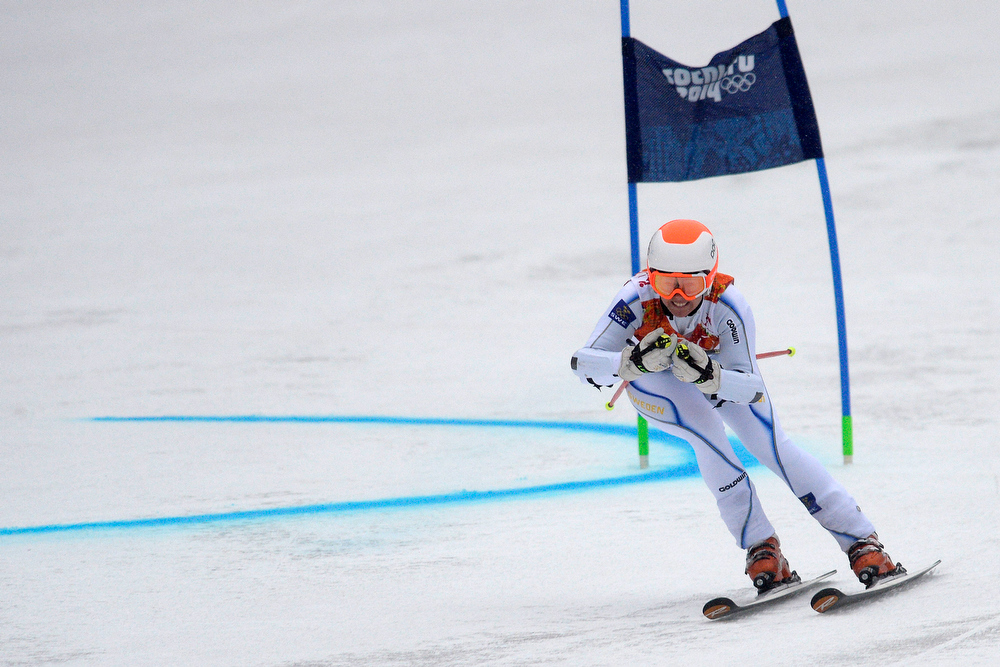 Description of . Sweden's Jessica Lindell-Vikarby races during the first round of the ladies' giant slalom. Sochi 2014 Winter Olympics on Tuesday, February 18, 2014. (Photo by AAron Ontiveroz/The Denver Post)