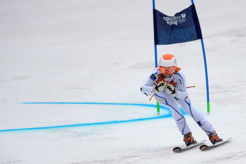 . Sweden\'s Jessica Lindell-Vikarby races during the first round of the ladies\' giant slalom. Sochi 2014 Winter Olympics on Tuesday, February 18, 2014. (Photo by AAron Ontiveroz/The Denver Post)