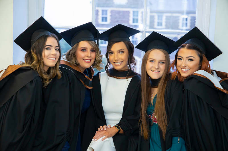 30/10/2019. Waterford Institute of Technology (WIT) Conferring Ceremonies. Pictured are Megan Power from Waterford City, Emily O'Niell Offaly, Charlotte Cuddihy Waterford City, Carra Richardson, Mayo and Chloe Driver from Clonmel who graduated Bachelor of Arts Hons in Marketing & Digital Media. Picture: Patrick Brownee