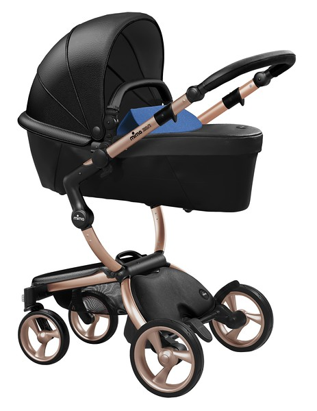 Mima_Xari_Product_Shot_Black_Flair_Rose_Gold_Chassis_Denim_Blue_Carrycot.jpg