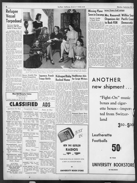 Daily Trojan, Vol. 32, No. 7, September 23, 1940