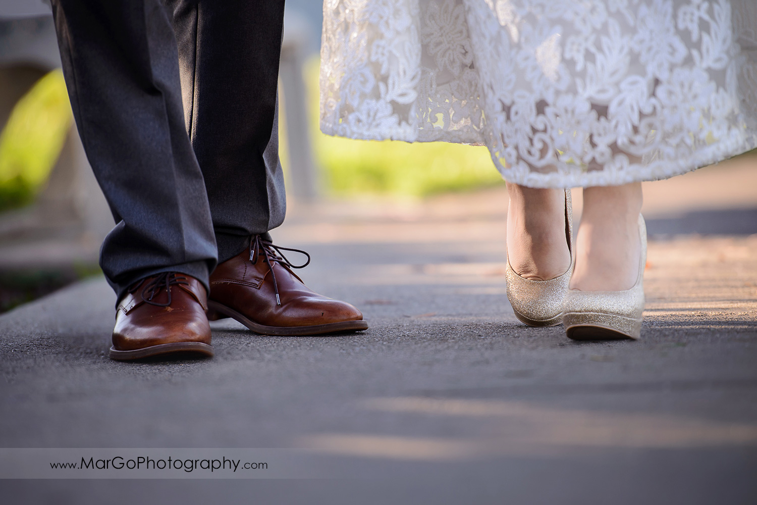 shoes of bride and groom at Pleasant Hill City Hall