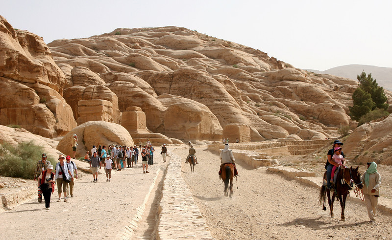 Petra - The path from the park entrance to The Siq.  On the left are the Djinn Blocks built by the Nabataeans in the 1st century AD.  Their exact function remains a mystery, but they could have been tombs, or built as dedications to the Nabataean god Dushara.