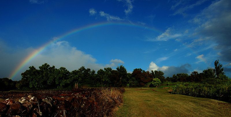 Rainbow over Pu'u o Mahuka,  in the late afternoon   North Shore of O'ahu, Hawai'i