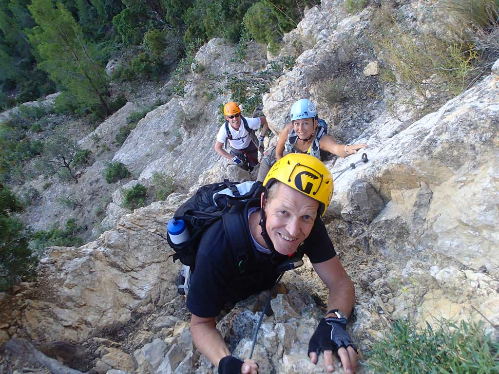 Wim, Charlotte and Richard climbing El Cid