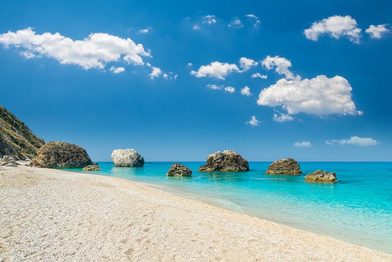 Kalamatisi and Megali Petra beach Lefkada