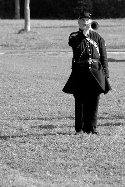 The bugler plays a tune on the field during a parade demonstration at Ft. Moultrie in Sullivan's Island, South Carolina on Monday, April 11, 2011. ..The 150th Anniversary of the Firing on Ft. Sumter was commemorated with lectures, performances, demonstrations, and a living history throughout the area on James Island, Charleston, Mt. Pleasant, and Sullivan's Island during the week from April 8-14, 2011. Photo Copyright 2011 Jason Barnette