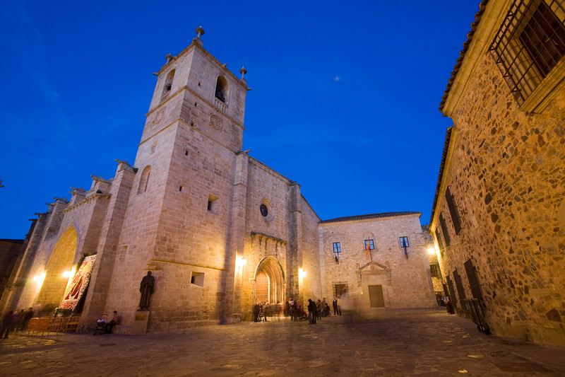 Saint Mary Cathedral at dusk, Caceres, Spain