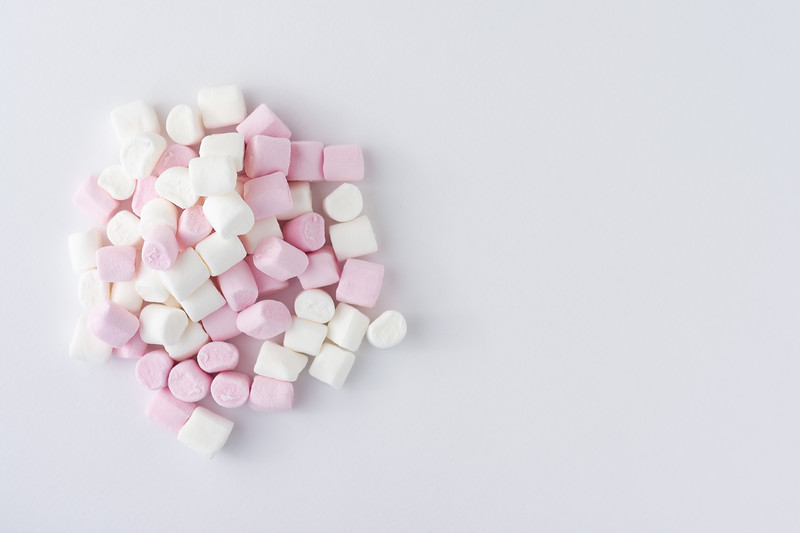 Pink and White Marshmallows Top View