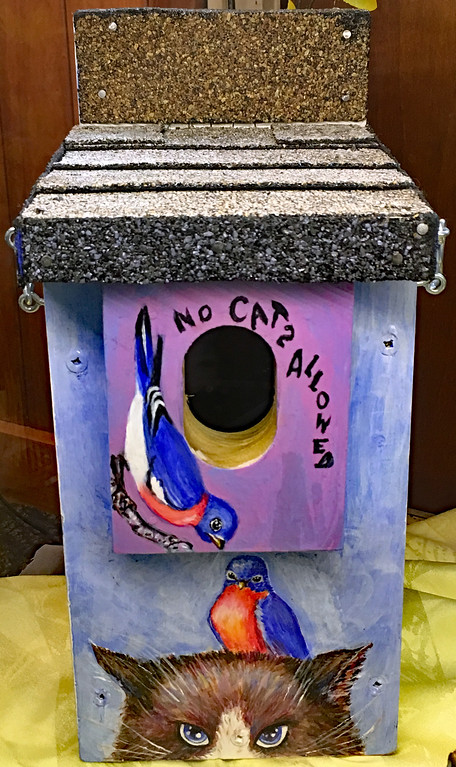 . �No Cats Allowed,� a birdhouse created by Diane Rogazione, is included in �Birds and Blooms,� Lake Metroparks spring art show at Penitentiary Glen Reservation in Kirtland. The show continues through May 13. For more information, visit www.lakemetroparks.com.  (Courtesy of Lake Metroparks)